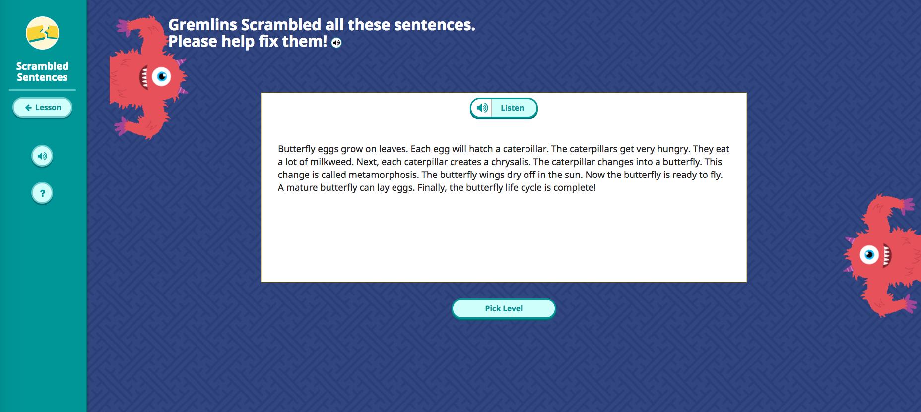 Scrambled Sentences Game Start