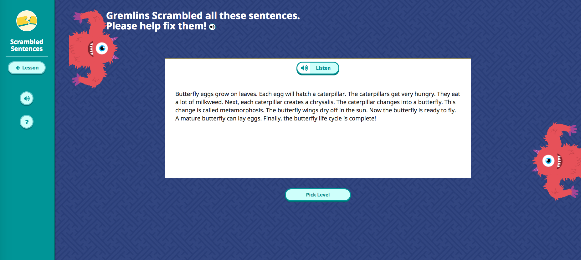 Scrambled Sentences Game Start
