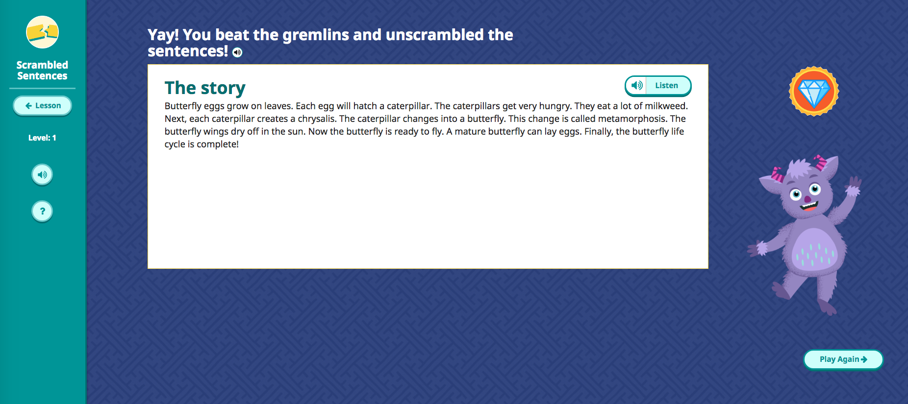 Scrambled Sentences puzzle game story