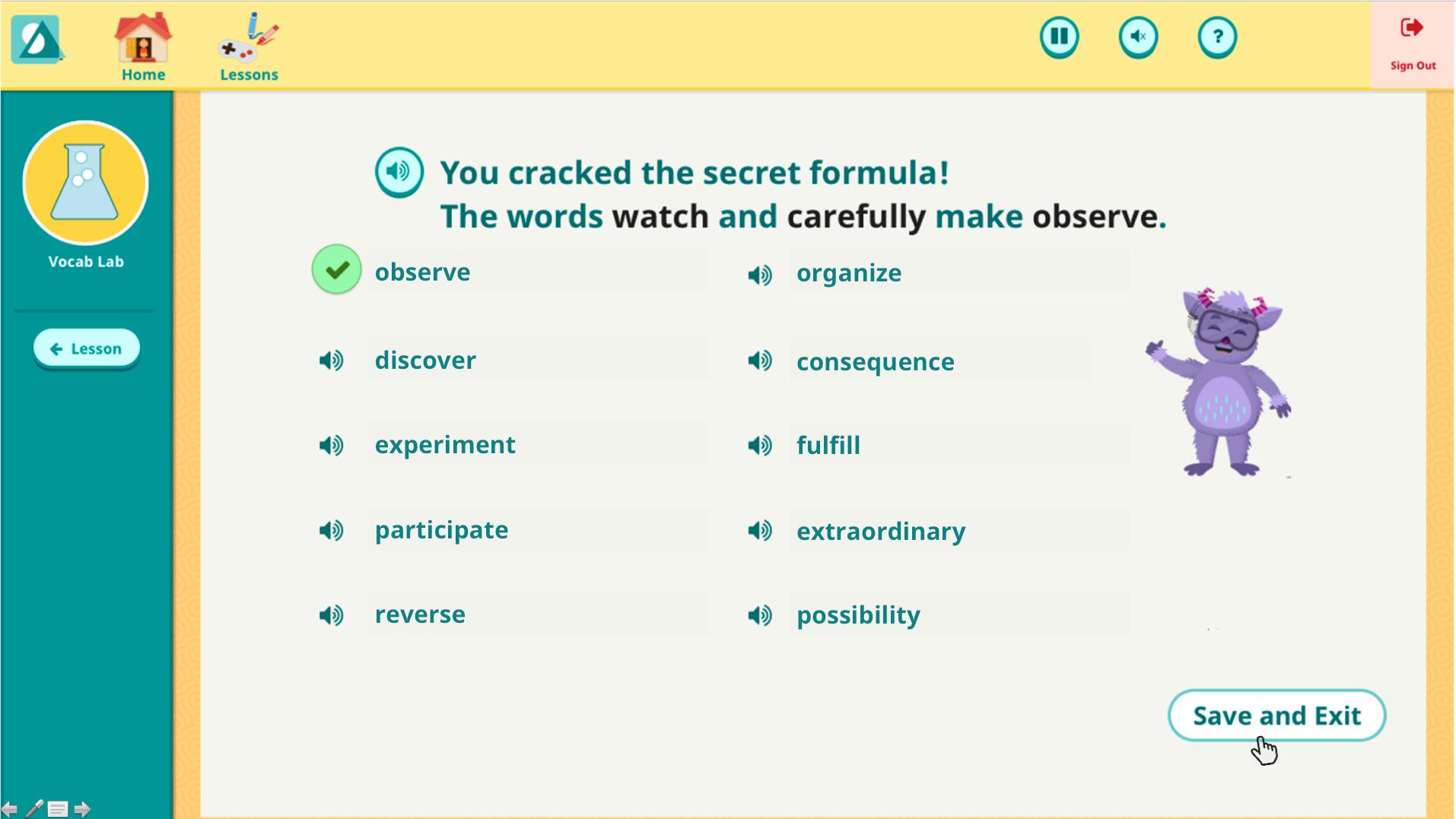 Vocab Lab Tier 2 Word Game