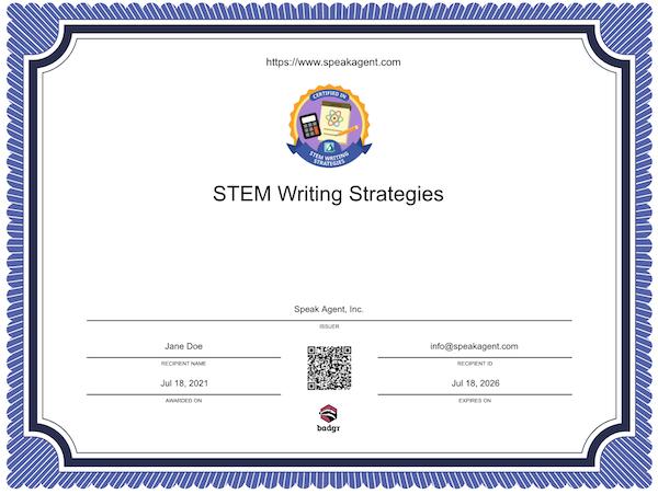 STEM Writing Strategies Certificate